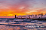 64795-02619 South Haven Lighthouse at sunset South Haven,  MI
