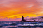64795-02703 South Haven Lighthouse at sunset South Haven,  MI