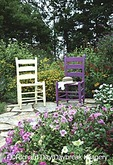 63821-10803 Yellow & Purple Chair, hat in flower garden  Marion Co. IL