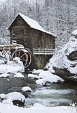 67395-02114 Glade Creek Grist Mill in winter Babcock State Park   WV