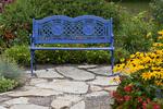 63821-21610 Blue bench in flower garden.  Black-eyed Susans (Rudbeckia hirta) & Red Dragon Wing Begonias (Begonia x hybrida) Marion Co., IL