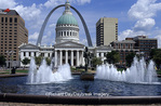 65012-09512 Kiener Plaza with old Courthouse & Arch (Jefferson National Memorial Expansion) in downtown St Louis  MO