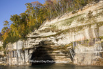64745-00207 Pictured Rocks National Lakeshore in fall from Lake Superior near Munising MI
