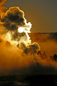 North America; United States of America {America, U.S., United States, US, USA}; Wyoming, WY, Yellowstone National Park {Yellowstone Park},  Old Faithful Area, Upper Geyser Basin,  Old Faithful Geyser, sunrise {daybreak, sun up, sunrises}