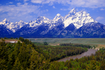 Snake River Overlook, Wyoming, Grand Teton National Park, Teton Range, Jackson Hole, from right to left: Mount Owen {12928 ft}, Teewinot Mountain {12325 ft}, Grand Teton {13770 ft}, Middle Teton {12804 ft}, South Teton {12514 ft}, Nez Perce {11901 ft}, Mount Wister {11490 ft}, Buck Mountain {11938 ft}, Ansel Adams photograph