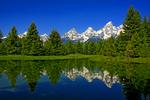 Wyoming, Grand Teton National Park, Teton Range, Jackson Hole, Schwabacher Road, beaver ponds, still water and reflections,