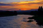 sunset {sundown}John D Rockefeller Jr Memorial Parkway; , Wyoming, north of Grand Teton National Park, Teton Range, Jackson Hole and south of Yellowstone National Park; John D Rockefeller Jr Memorial Parkway connects Grand Teton National Park to Yellowstone National Park