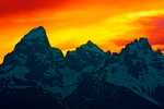 sunset, sundown, Glacier View Turnout, Wyoming, Grand Teton National Park, Teton Range, Jackson Hole North America; United States of America {America, U.S., United States, US, USA}; Wyoming; Grand Teton National Park {Teton Range, Jackson Hole}; Grand Teton {13770 ft}, Mount Owen {12928 ft}, Teewinot Mountain {12325 ft}