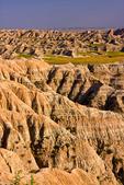 Badlands Loop Road, South Dakota; Badlands National Park {Badlands}, North America; United States of America {America, U.S., United States, US, USA}; sedimentary rock