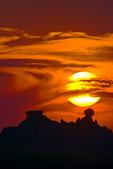 sunset, sundown, Cedar Pass area, South Dakota; Badlands National Park {Badlands}, North America; United States of America {America, U.S., United States, US, USA};