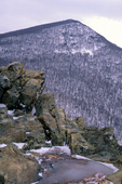 Crescent Rock Overlook, Hawksbill Mountain in the background, Shenandoah National Park, Virginia, USA, Appalachian Mountains, Blue Ridge Mountains, seasons, Winter, snow, ice, 50294-02284