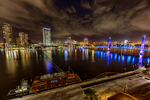 Jacksonville, St. John's River, skyline, night, night time, Blue Bridge, Florida, arial, air photo, FL021276_HDRzss_85.jpg
