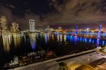 Jacksonville, St. John's River, skyline, night, night time, Blue Bridge, Florida, arial, air photo, FL021296s.jpg