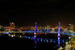 Jacksonville, St. John's River, skyline, night, night time, Blue Bridge, Florida, arial, air photo, FL021405cs.jpg