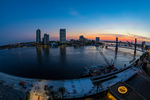 Jacksonville, St. John's River, skyline, sunset, nightfall, dusk, sundown, night, night time, Blue Bridge, Florida, arial, air photo, FL021688sf.jpg
