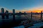 Jacksonville, St. John's River, skyline, sunset, nightfall, dusk, sundown, night, night time, Blue Bridge, Florida, arial, air photo, FLHDR1235zs.jpg