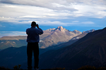 photography; photographer taking scenic picture of Long's Peak, 14,259 feet elevation, Rocky Mountain National Park, Colorado, USA; RockyMountainD385553_ARS.CR2