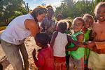 Helen MaClaren with Malagasy children, Gite de Berenty Lodge, Berenty Reserve, Madagascar: Africa, Madagascar81275PL1.jpg
