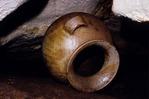 ANCIENT MAYA POT HIDDEN IN RECESSES OF CAVE, ACTUN XPUKIL, YUCATAN