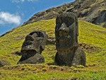MOAI ON THE SOUTHERN SLOPE OF RANO RARAKU,  EASTER ISLAND