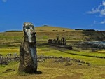 LONE MOAI NEAR AHU TONGARIKI, EASTER ISLAND