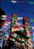 IGLESIA SANTA PRISCA & PAPER BANNERS CELEBRATING INDEPENDENCE DAY, TAXCO, MEXICO