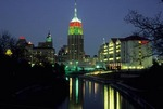 DOWNTOWN SAN ANTONIO, TEXAS, FEATURING THE RIVER & TOWER LIFE BUILDING