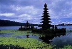 PURA ULAN DANU BRATAN TEMPLE, SHIVA & VISHNU TOWERS, BALI, INDONESIA
