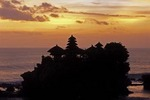 TANAH LOT, BALI'S MOST VENERATED SEA TEMPLE, AT SUNSET, BALI, INDONESIA