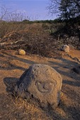 HUMAN FACE CARVED INTO BOULDER, COLIMA CULTURE, LOS ORTICES, COLIMA, MEXICO