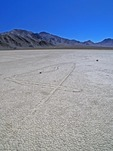 TRACKS MADE BY SLIDING ROCKS, THE RACETRACK, DEATH VALLEY, CALIFORNIA