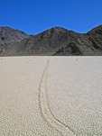 TRACK MADE BY A SLIDING ROCK, THE RACETRACK, DEATH VALLEY,  CALIFORNIA