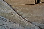CONCENTRIC CIRCLES & ANTHROPOMORPHIC FIGURES, CANYON DE CHELLY, NAVAHO NATION