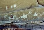 A HISTORICAL NAVAJO PICTOGRAPH, THE SPANISH PROCESSION, CANYON DE CHELLY, ARIZONA