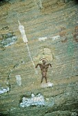 PICTOGRAPH OF ANTHROPOMORPH ARMED WITH SPEAR, CANYON DE CHELLY, NAVAJO NATION