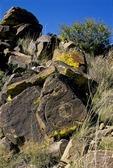 PETROGLYPH OF A SHIELD FIGURE, COMANCHE GAP, GALISTEO BASIN, NEW MEXICO