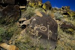 PETROGLYPHS OF KOKOPELLI & SUN SYMBOL, COMANCHE GAP, NEW MEXICO