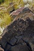 PETROGLYPH OF A SUN SYMBOL, COMANCHE GAP, GALISTEO BASIN, NEW MEXICO