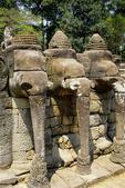 ELEPHANTS ADORN THE FAÇADE OF THE, ELEPHANT TERRACE, ANGKOR THOM, CAMBODIA