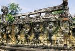GARUDAS & DEMONS SUPPORT THE ELEPHANT TERRACE, ANGKOR THOM, CAMBODIA