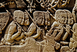 KHMER SOLDIERS MARCHING AGAINST THE CHAM, ANGKOR THOM, CAMBODIA