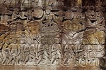 KHMER SOLDIERS & WAR ELEPHANTS, THE BAYON, ANGKOR THOM, CAMBODIA