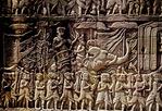 KHMER SOLDIERS & WAR ELEPHANT, THE BAYON, ANGKOR THOM, CAMBODIA