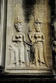 DEVATAS (FEMALE DIVINITIES) ADORN A WALL AT ANGKOR WAT; CAMBODIA