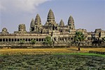 LOTUS POND ACCENTS THE FIVE TOWERS OF ANGKOR WAT, CAMBODIA