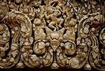 RAVANA ABDUCTS SITA, WEST DOOR LINTEL, CENTRAL TOWER, BANTEAY SREI, CAMBODIA