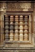 BALUSTRADED FALSE WINDOW, EAST FACE GOPURA I, BANTEAY SREI, CAMBODIA