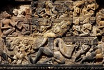 RAVANA SHAKING MOUNT MERU, EAST PEDIMENT, SOUTH LIBRARY, BANTEAY SREI, CAMBODIA