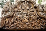 SHIVA & PARVATI, PEDIMENT, SOUTH LONG GALLERY, BANTEAY SREI, CAMBODIA