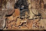 BATTLE BETWEEN SUGRIVA & VALIN, WEST GOPURA II, BANTEAY SREI, CAMBODIA